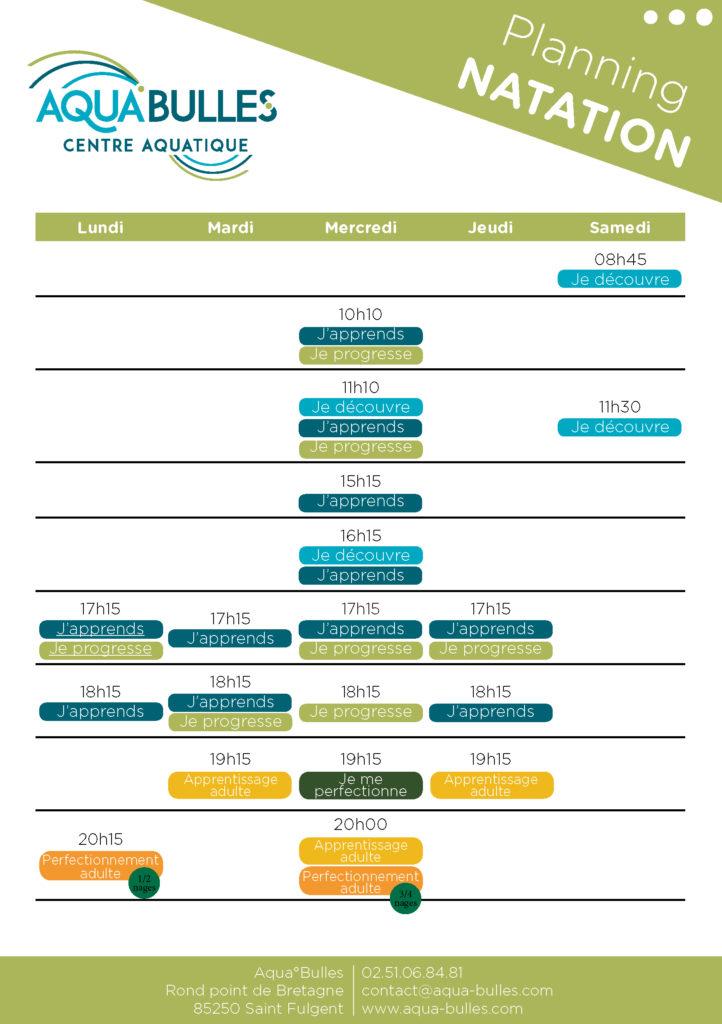 Inscriptions natation Planning des cours 2018/2019