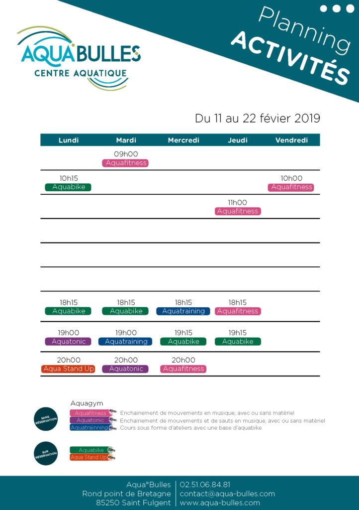Planning Activité Février 2019
