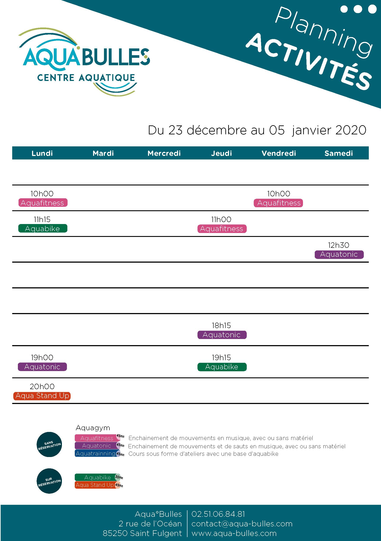 Planning aquabulles vacances Noël