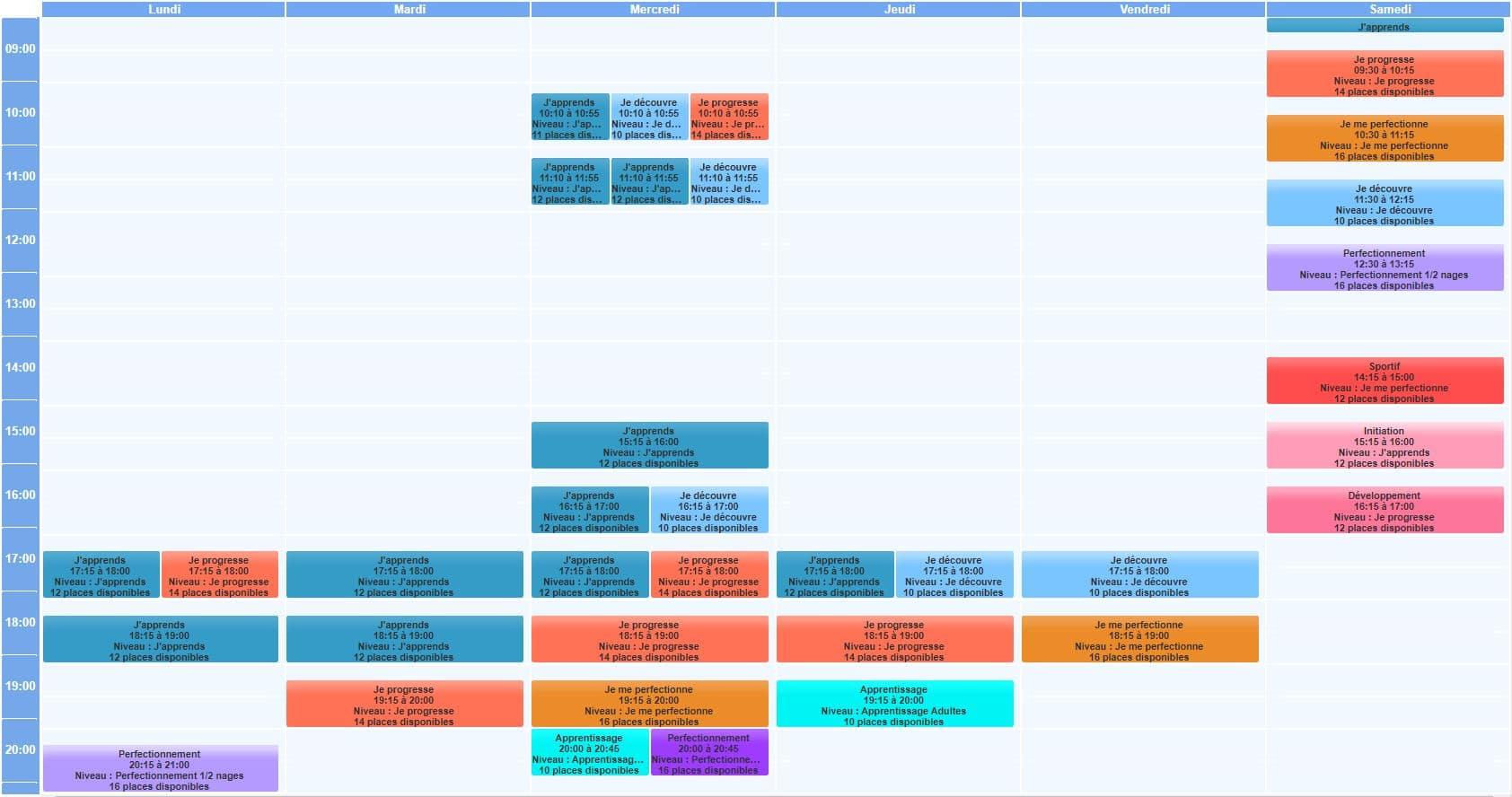 École de natation - planning des cours 2020/2021